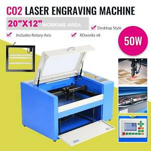20 12 50w Laser Engraver Cutter Engraving Machine Co2 Auxiliary Rotary Device