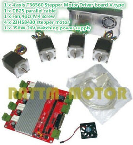 4 Axis Nema 23 270 Oz in Stepper Motor 76mm power Supply 4v Cnc Controller Kit