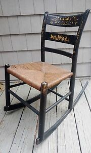 Boston New England Black Child Rocking Chair With Gold Painted Accents Rush Seat