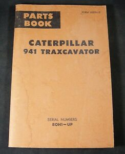Cat Caterpillar 941 Traxcavator Parts Manual Book Catalog List S n 80h1 up