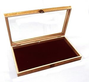 6 Oak Stained Wood Glass Top Burgundy Pad Display Box Case Medals Jewelry Knife