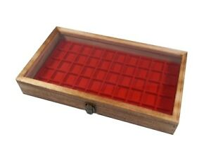 2 Rustic Oak Color Wood Glass Top Red 50 Space Ring Charm Jewelry Display Cases