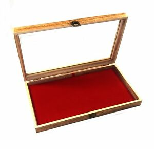 6 Oak Stained Wood Glass Top Red Pad Display Box Case Medals Jewelry Knife