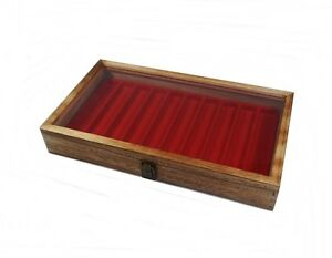 Rustic Oak Color Wood Glass Top Red 10 Slot Jewelry Pen Knife Display Case