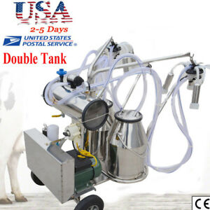 Portable Double Tank Electric Milking Machine For Farm Cows Vacuum Pump Ups