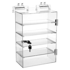 Retails Acrylic 5 Shelves Showcase With Lock 10 1 2 W X 5 1 2 D X 15 H