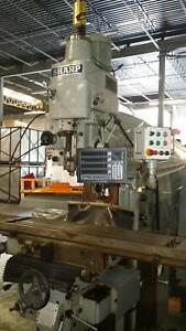 Used Sharp Vh 3 Cnc Vertical horizontal Manual Knee Mill W 4 Axis Newall Dro