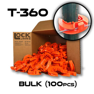 T 360 Electric Fence Insulators 100 Bulk Lockjawz Orange Straight