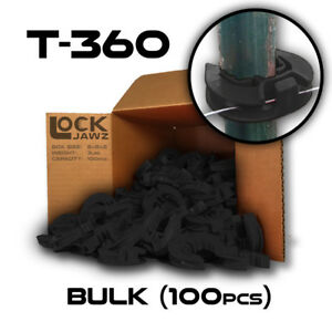 T 360 Electric Fence Insulators 100 Bulk Lockjawz Black Straight