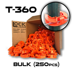 T 360 Electric Fence Insulators 250 Bulk Lockjawz Orange Straight