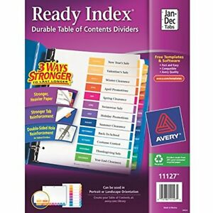 Binder Index Dividers Avery Ready Table Of Contents Jan dec 12 tab Set Case 24