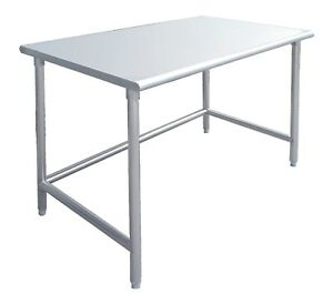 24 X 24 Stainless Steel Work Prep Table W Adjustable Crossbar