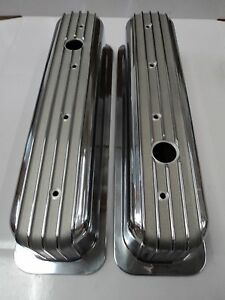 Tall Finned Aluminum Valve Covers Centerbolt Sbc Chevy Chevrolet Small Block Gm