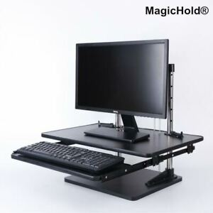 Adjustable Height Table Top Sit stand Desk Riser For Monitor laptop walnut Wood