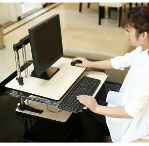 Adjustable Height Table Top Sit stand Desk Riser Fr Monitor laptop white Wood