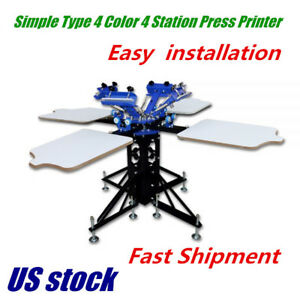 Us 4 Color 4 Station Silk Screen Printing Machine Printing Press T shirt Print