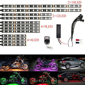 12pcs Multi color Waterproof Flexible Strip Car Motorcycle Led Neon Lighting Kit