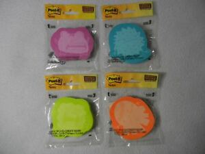 Wholesale Lot 150 Pkg Monster Post It Notes In Neon Colors Super Sticky V7596