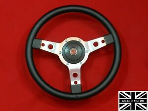 14 Vinyl Steering Wheel red Stitching Hub Fits Mga All Years