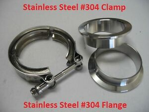 3 Turbo Exhaust Down Pipe Stainless Steel 304 V Band Vband Clamp Flang Kit