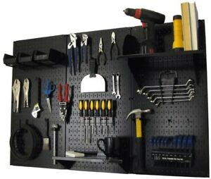 Metal Pegboard Tool Storage Black Wall Organizer Magnetic Garage 32 In X 48 In