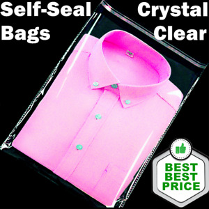 Clear Poly Bags Large Small Plastic Packaging Flat Lock Packing T shirt Apparel