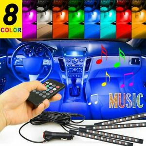Rgb Color Led Map Interior Light Remote Control Car Foot Seat Accent Lamp Set