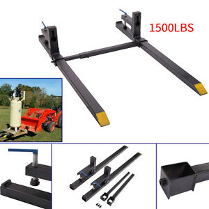 43 Lw Clamp On Pallet Forks 1500 Lbs Capacity W Stabilizer Bar Loaders Chain