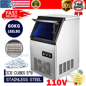 60kg 132lbs Commercial Bar Ice Maker Cube Machine Stainless Steel 110v Usa Stock