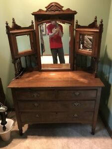 Antique Gothic Victorian Dresser With Mirrors
