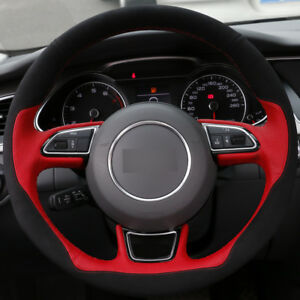 Diy Steering Wheel Cover Red Leather Black Suede Hand Sewing For Audi A1 A3 A5