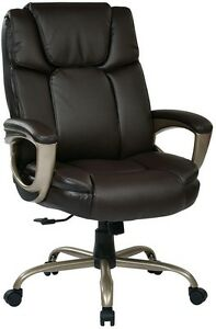 New Work Smart Espresso Eco Leather Big Man s Padded Executive Office Desk Chair