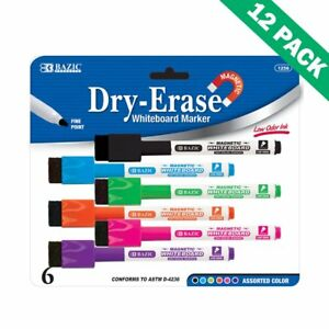 Magnetic Dry erase Markers Bazic Dry Erase Marker Thin Multicolor 12 Unit Pack