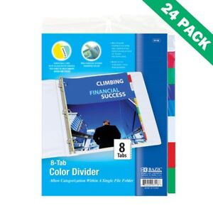 Dividers For 3 Ring Binder Bazic Insertable 8 Tab Binder Dividers 24 Units