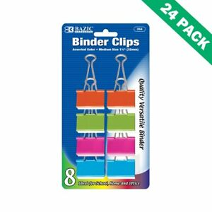 Colored Binder Clips Paper Medium 1 25 Binder Clips Metal 8 pack Pack Of 24