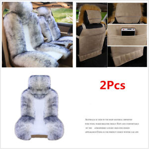 2pcs Genuine Australian Sheepskin Soft Car Front Seat Protector Cover White Grey