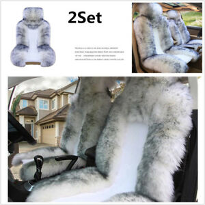 Soft Fluffy Genuine Sheepskin Fur Car 2 Front Seat Cover Winter Car Decoration