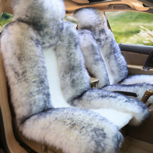 Standard Edition Real Sheepskin Fur 2 Set Winter Car Front Seat Protector Cover