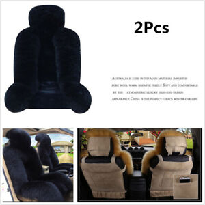 Black Genuine Australian Sheepskin Car 2 Front Seat Cover Winter Car Decoration
