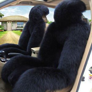 Standard Edition Black Genuine Sheepskin Fluffy Car 2 Front Seat Protector Cover