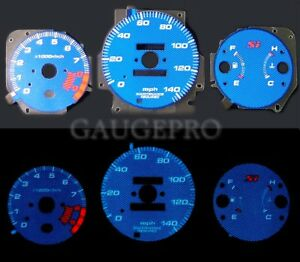 99 00 Civic Si Blue Carbon Fiber Glow Gauges In Mph With 10k Rpm Tach