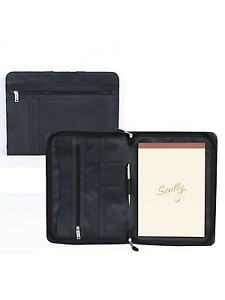 New Scully Soft Plonge Leather Letter Writing Pad Document Organizer Black