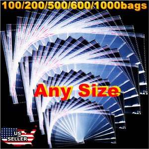 Clear Plastic Reclosable Poly Seal Top Bags Coins Jewelry Large Small Packaging