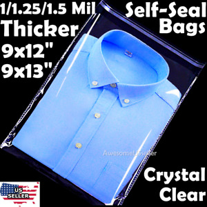 9x12 Poly Clear Plastic Bags 100 500 1k Self Adhesive T shirt Apparel Resealable