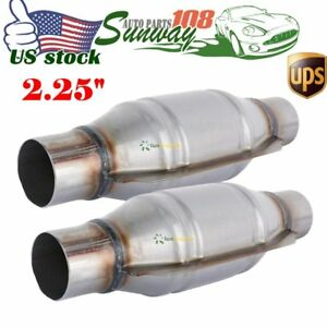 2pcs Weld On 2 25 Inlet Outlet Universal High Flow Catalytic Converter Exhaust