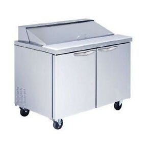 48 2 door Commercial Refrigerated Sandwich Pizza Prep Table Stainless Steel