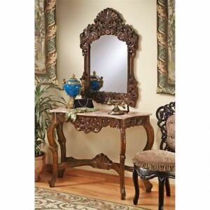 Antique Replica 18th French Dordogne Mirror And Marble Topped Console Table