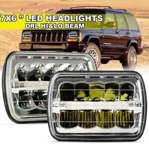 Pair 5x7 7x6 Led Headlight Hi Lo Sealed Beam For Jeep Cherokee Xj Yj Truck
