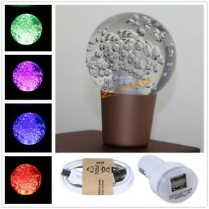 Universal Crystal Bubble Ball Usb Rgb Led Gear Stick Shift Knob Shifter Lever