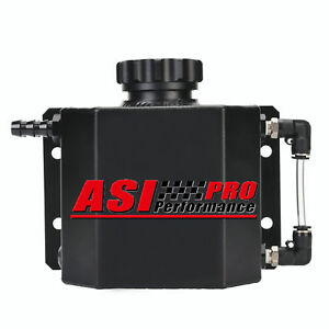 Asi 1l Aluminum Radiator Coolant Overflow Bottle Recovery Water Tank Black New